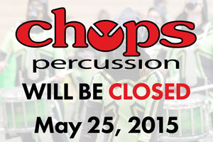 Chops closed on Monday, May 25, 2015 in observance of Memorial Day.